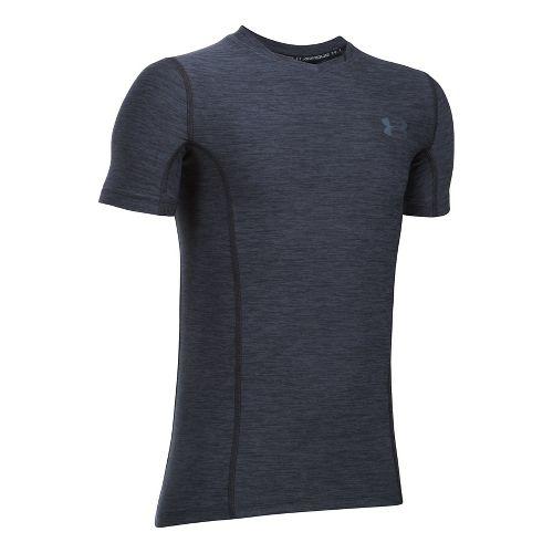 Under Armour Boys HeatGear Supervent Fitted Short Sleeve Technical Tops - Black/Graphite YXL