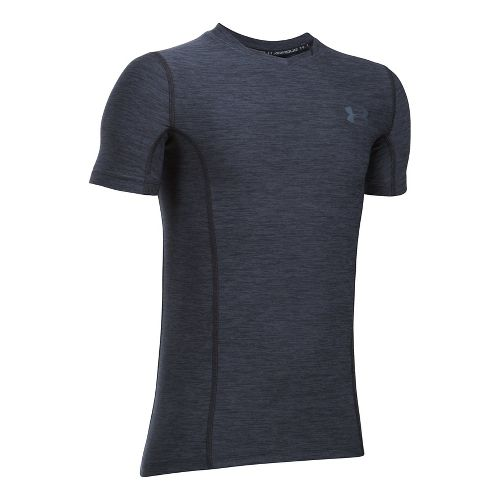 Under Armour Boys HeatGear Supervent Fitted Short Sleeve Technical Tops - Black/Graphite YXS