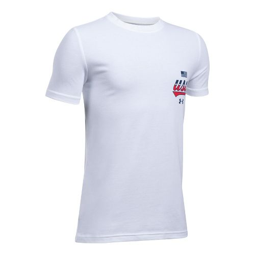 Under Armour Boys Home of the Brave Tee Short Sleeve Technical Tops - White YM
