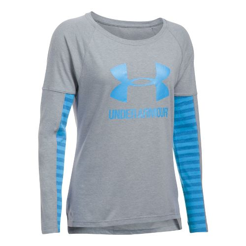 Womens Under Armour Favorite Sportstyle Long Sleeve Technical Tops - Grey/Blue M