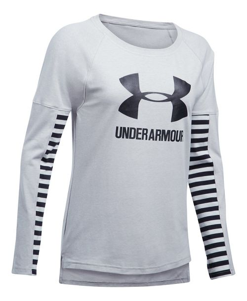 Womens Under Armour Favorite Sportstyle Long Sleeve Technical Tops - Grey/Black S