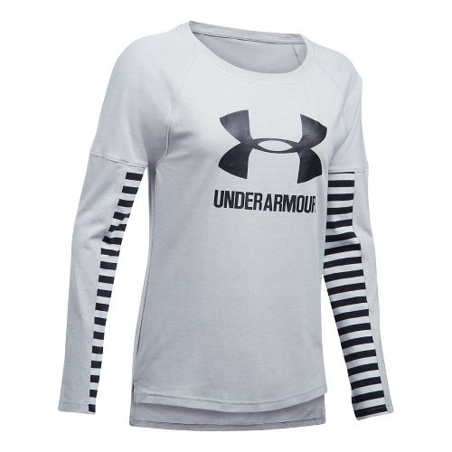 Womens Under Armour Favorite Sportstyle Long Sleeve Technical Tops - Grey/Black XL