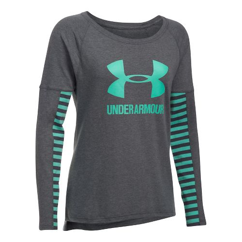 Womens Under Armour Favorite Sportstyle Long Sleeve Technical Tops - Carbon/Green M