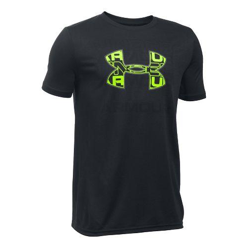 Under Armour Boys Infusion Logo Tee Short Sleeve Technical Tops - Black/Graphite YXS