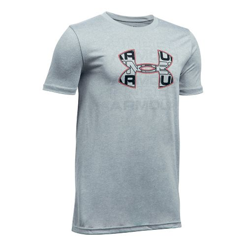 Under Armour Boys Infusion Logo Tee Short Sleeve Technical Tops - Grey Heather/Red YL