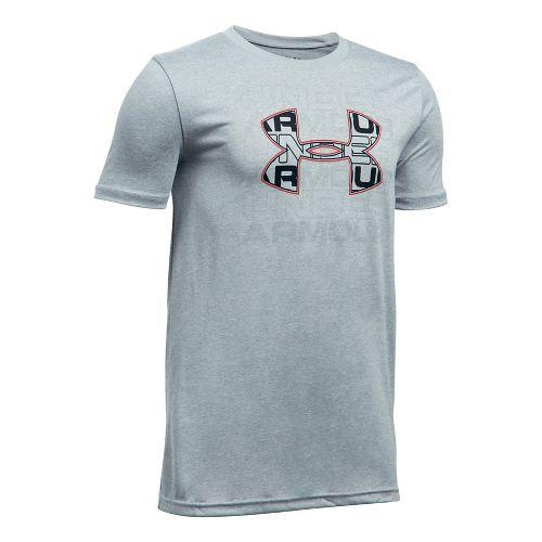 Under Armour Boys Infusion Logo Tee Short Sleeve Technical Tops - Grey Heather/Red YXS