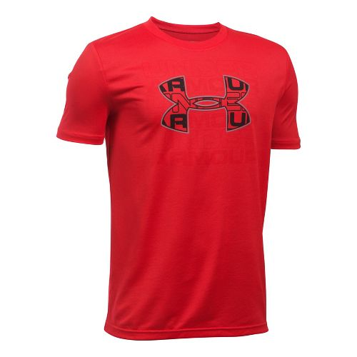 Under Armour Boys Infusion Logo Tee Short Sleeve Technical Tops - Red/Steel YXL