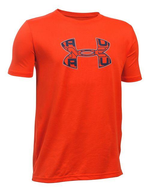 Under Armour Boys Infusion Logo Tee Short Sleeve Technical Tops - Dark Orange/Overcast YXS