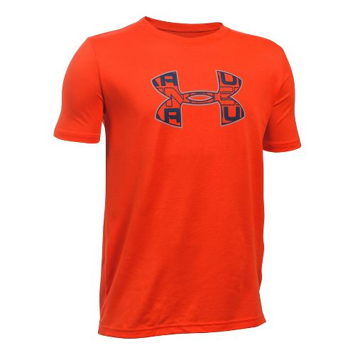 Under Armour Boys Infusion Logo Tee Short Sleeve Technical Tops - Red/Steel YL