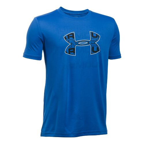Under Armour Boys Infusion Logo Tee Short Sleeve Technical Tops - Ultra Blue/White YL