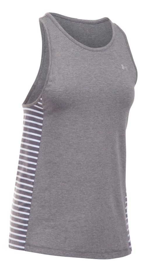 Womens Under Armour Favorite Sleeveless & Tank Tops Technical Tops - Carbon/White XS