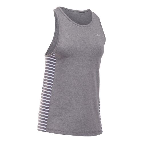 Womens Under Armour Favorite Sleeveless & Tank Tops Technical Tops - Carbon/White L
