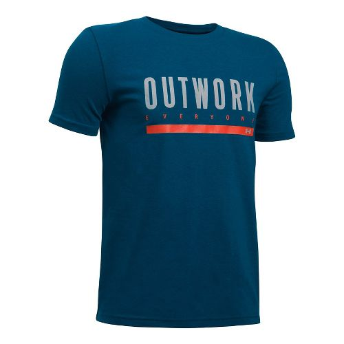Under Armour Boys Outwork Everybody Tee Short Sleeve Technical Tops - Blackout Navy/Orange YL