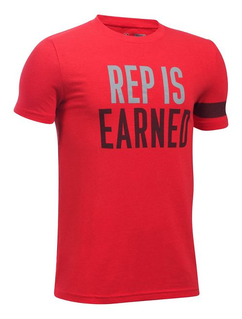 Under Armour Boys Rep Is Earned Tee Short Sleeve Technical Tops - Red YM