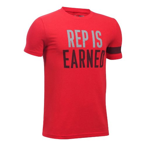 Under Armour Boys Rep Is Earned Tee Short Sleeve Technical Tops - Red YXS