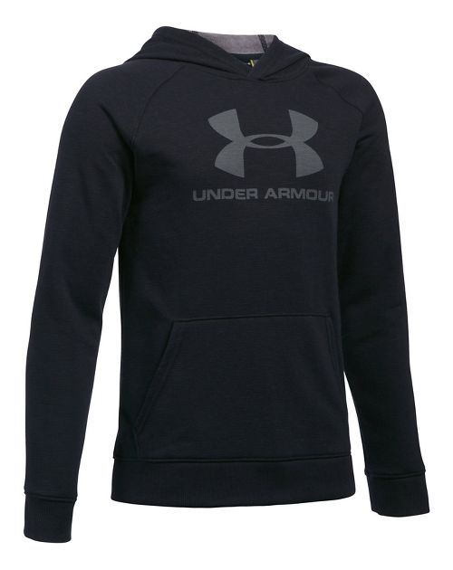 Under Armour Boys Sportstyle Hoodie Short Sleeve Technical Tops - Black Heather YL