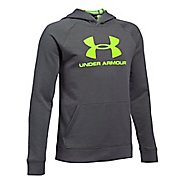 Under Armour Boys Sportstyle Hoodie Short Sleeve Technical Tops - Graphite YS