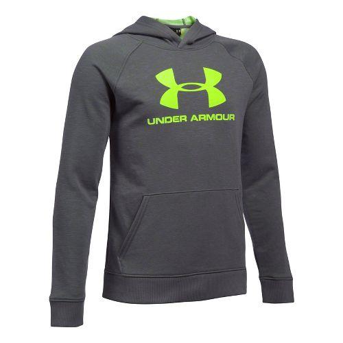 Under Armour Boys Sportstyle Hoodie Short Sleeve Technical Tops - Graphite YXS