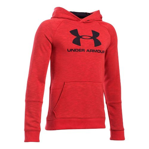 Under Armour Boys Sportstyle Hoodie Short Sleeve Technical Tops - Red Heather YL