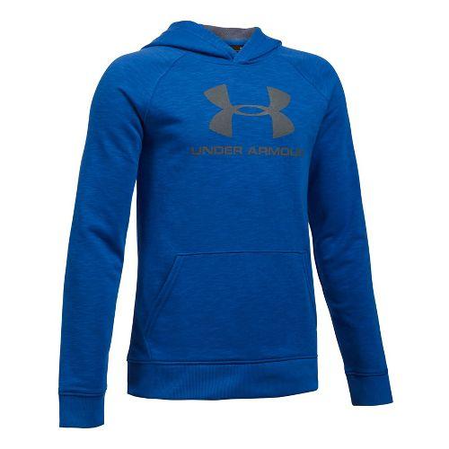 Under Armour Boys Sportstyle Hoodie Short Sleeve Technical Tops - Blue Heather YS