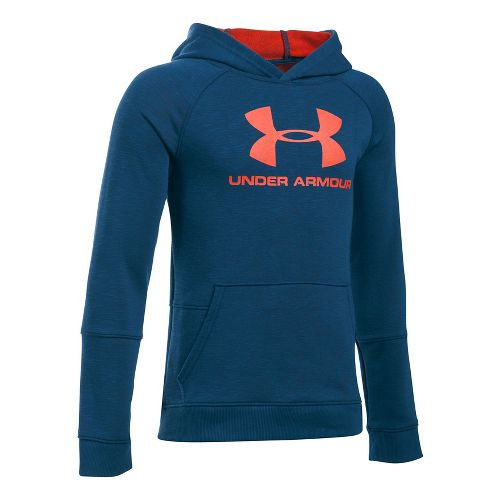 Under Armour Boys Sportstyle Hoodie Short Sleeve Technical Tops - Navy Heather YS