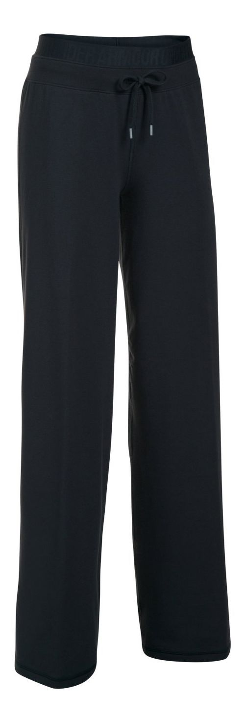 Womens Under Armour Favorite Wide Leg Pants - Black/Black XS