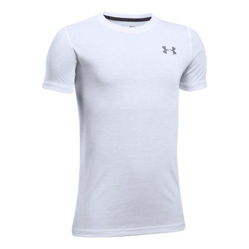 Under Armour Boys Threadborne Tee Short Sleeve Technical Tops - White YL