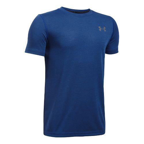 Under Armour Boys Threadborne Tee Short Sleeve Technical Tops - Ultra Blue YXS