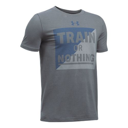 Under Armour Boys Train Or Nothing Tee Short Sleeve Technical Tops - Graphite/Blue YXL