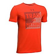 Under Armour Boys Train Or Nothing Tee Short Sleeve Technical Tops - Dark Orange/Navy YS