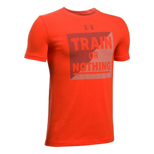 Under Armour Boys Train Or Nothing Tee Short Sleeve Technical Tops - Dark Orange/Navy YM ...