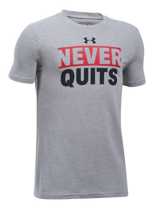 Under Armour Boys UA Logo Never Quits Short Sleeve Technical Tops - Grey Heather/Red YL