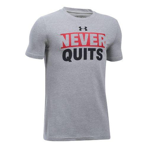 Under Armour Boys UA Logo Never Quits Short Sleeve Technical Tops - Grey Heather/Red YXL