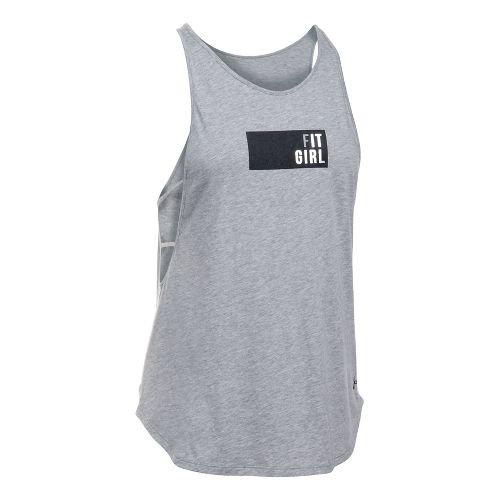 Womens Under Armour Fit Girl Strappy Sleeveless & Tank Tops Technical Tops - Grey/White M ...