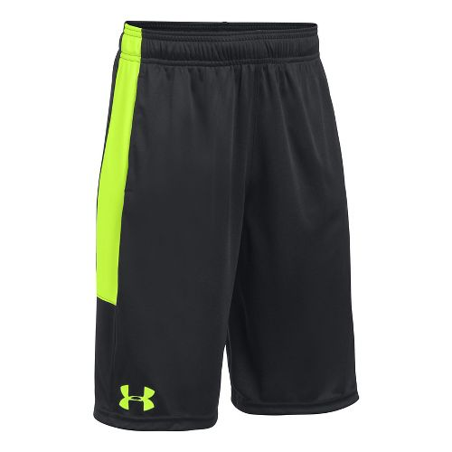 Under Armour Boys Stunt Unlined Shorts - Black/Fuel Green YL