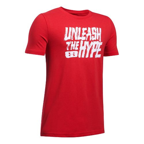 Under Armour Boys Unleashed Tee Short Sleeve Technical Tops - Red YS