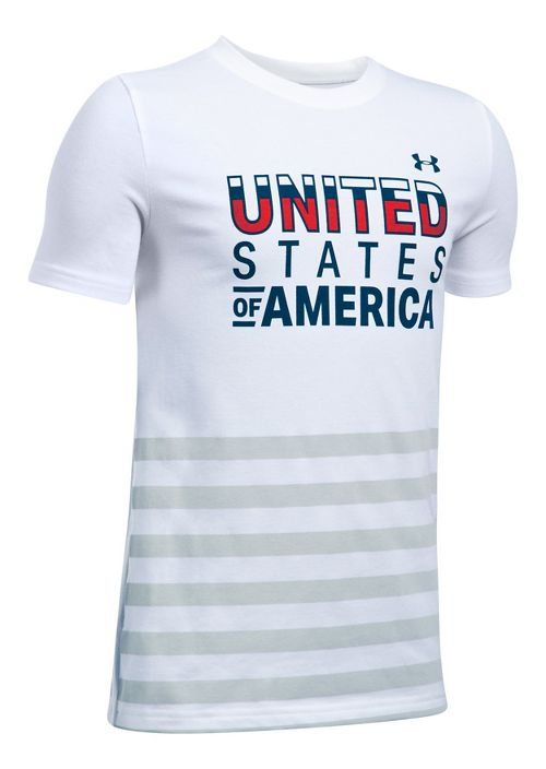 Under Armour Boys USA Tee Short Sleeve Technical Tops - White YXS