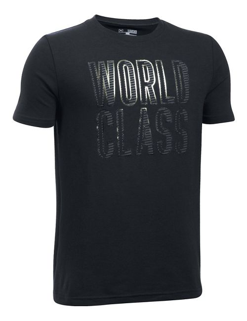 Under Armour Boys World Class Tee Short Sleeve Technical Tops - Black YL