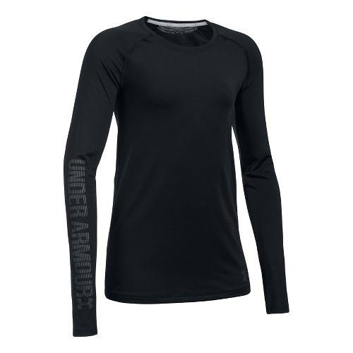 Under Armour Girls Armour HeatGear Long Sleeve Technical Tops - Black YL