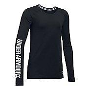Under Armour Girls HeatGear Long Sleeve Technical Tops - Black/Blue YXS