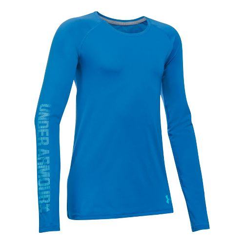 Under Armour Girls Armour HeatGear Long Sleeve Technical Tops - Mediterranean YXL