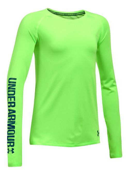 Under Armour Girls HeatGear Long Sleeve Technical Tops - Quirky Lime YXS