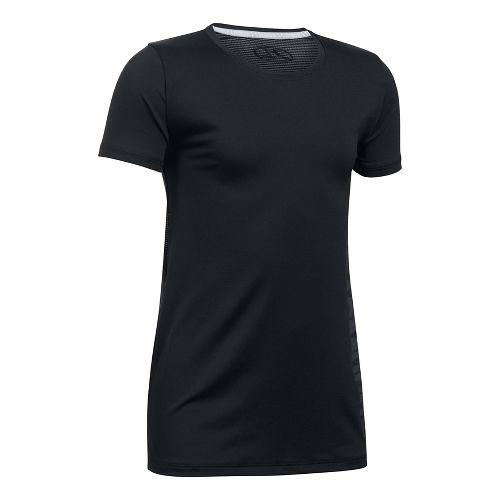 Under Armour Girls Armour HeatGear Short Sleeve Technical Tops - Black YL