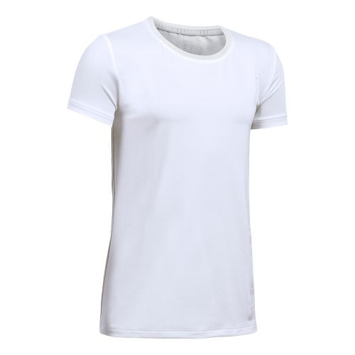 Under Armour Girls Armour HeatGear Short Sleeve Technical Tops - White/Glacier Grey YXS
