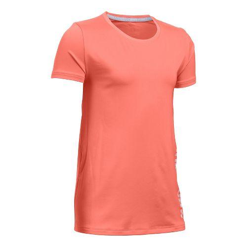 Under Armour Girls Armour HeatGear Short Sleeve Technical Tops - London Orange YM