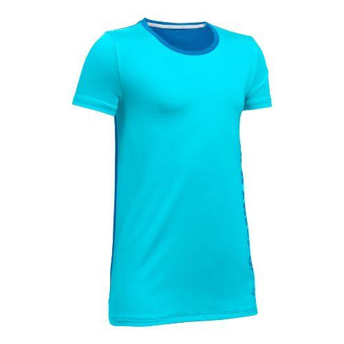Under Armour Girls Armour HeatGear Short Sleeve Technical Tops - Blue/Mediterranean YXS
