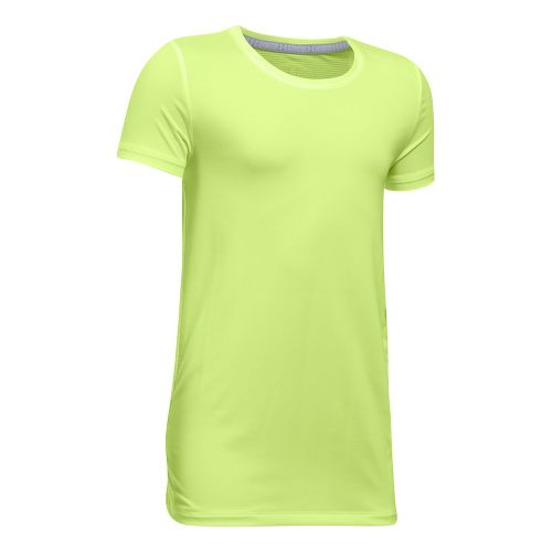 Under Armour Girls Armour HeatGear Short Sleeve Technical Tops - Pale Moonlight YXS