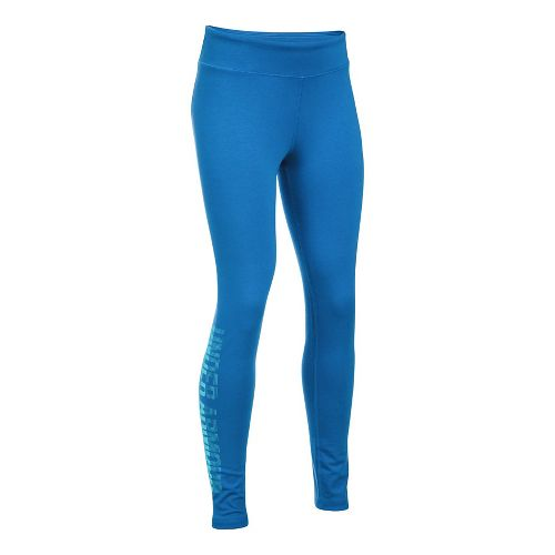 Under Armour Girls Favorite Knit Graphic Tights & Leggings Pants - Mediterranean YXL