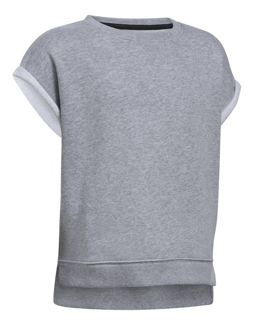 Under Armour Girls Favorite Fleece Crew Short Sleeve Technical Tops - True Grey Heather YM