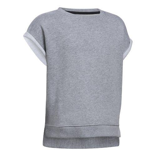 Under Armour Girls Favorite Fleece Crew Short Sleeve Technical Tops - True Grey Heather YXS ...
